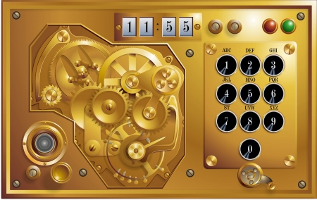 Five to 12 Steampunk Clock Standard-Bild