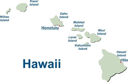 Karte der Hawaii-Inseln Standard-Bild - 57943241