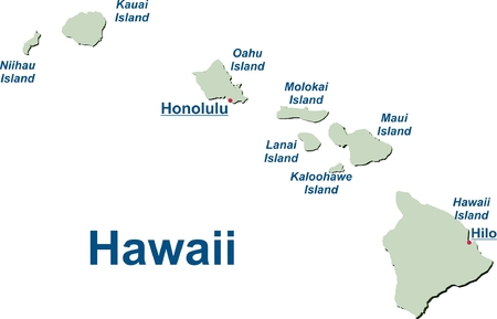 Map of the Hawaiian Islands Illustration