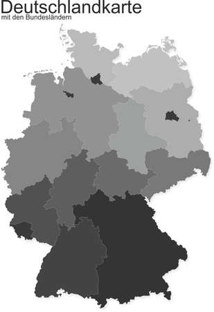 Germany map with federal states in gray Illustration