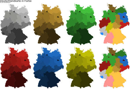 Germany map with federal states in color