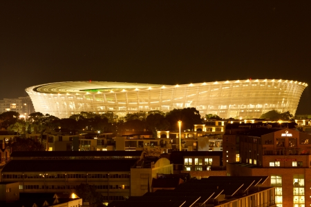cape town: Night shot of Greenpoint soccer stadium Cape Town South Africa showing lights