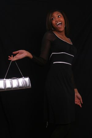 Woman holding purse Banco de Imagens