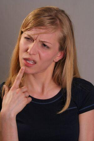 confussed vrouw Stockfoto