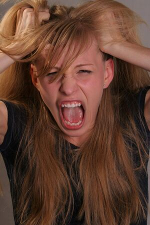 gril screaming pulling hair Stock Photo - 3146057