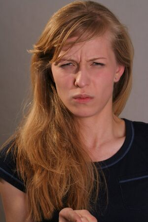 woman with angry look