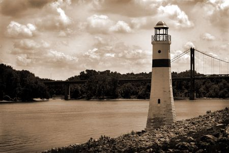 R�o Mississippi Light House  Foto de archivo