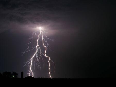 Lightning Thunderstorm Sky Rain Stock Photo