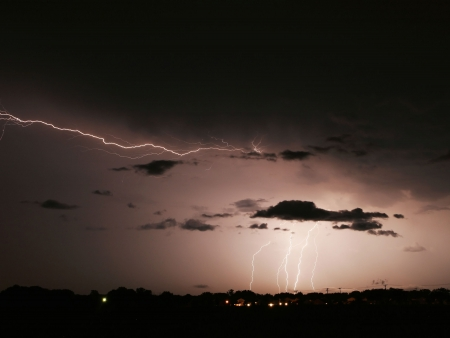 Gökyüzü fırtına karşısında yıldırım Stock Photo