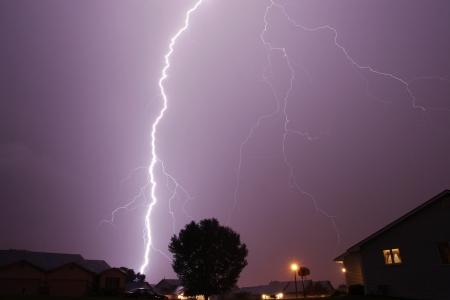 lightning across sky thunderstorm