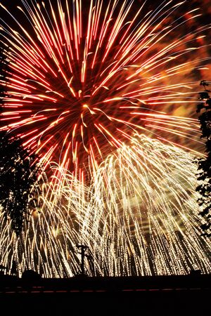 havai fişek, dördüncü Temmuz yeni yıl ekran gösterisi Stock Photo