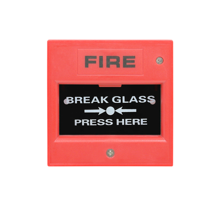 glass break: fire break glass isolated on white background Stock Photo