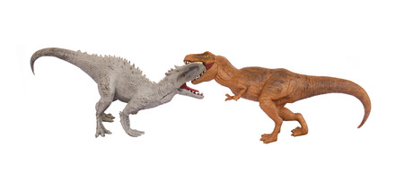 ardently: Dinosaurs are fighting isolated on white background