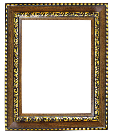 wooden frame: old time vintage red and golden rustic high quality quadratic wooden frame isolated over white