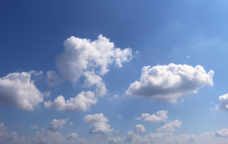 are shone: Image of blue sky and clouds, and the sun shone out behind the clouds Stock Photo