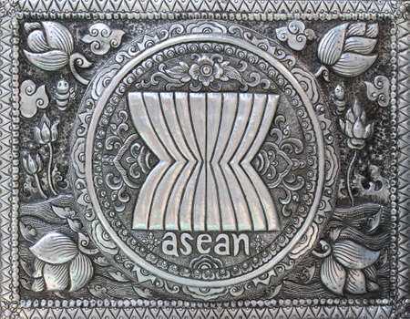 asean: Asean symbol made from metal. Asean Economic Community