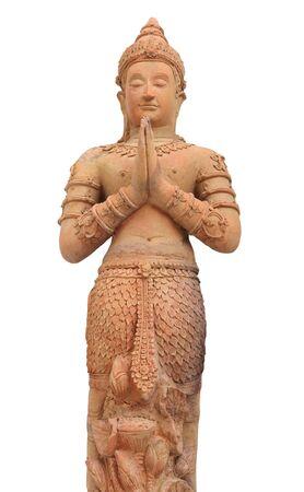 deity: deity Thai statue with Isolate on white background