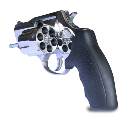 .38 Caliber Revolver Pistol Loaded Cylinder Gun Barrel Close Up Pointed on White back ground