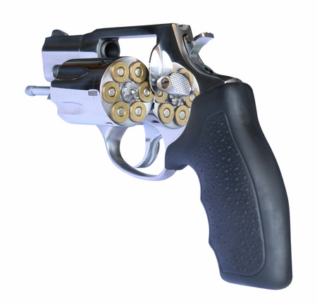 Short barrel ultra lightweight titanium revolver with jacketed hollow point high speed ammo cartridges bullets gun, on white background