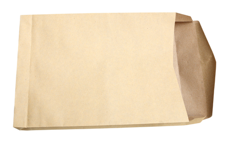 open business: Brown envelope document on white background