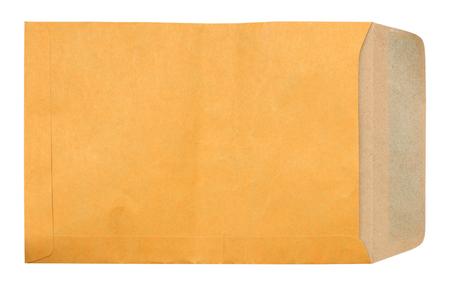 old envelope: old brown envelope document on white background