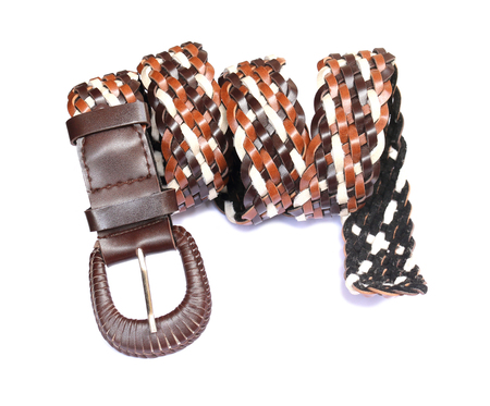 Brown and white leather belt on white background Stock Photo