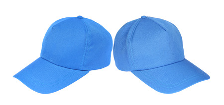 Two blue baseball cap isolated on a white background Stock Photo