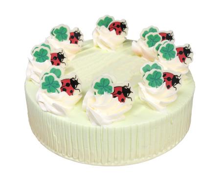 pandan: Pandan cake on white background. Stock Photo