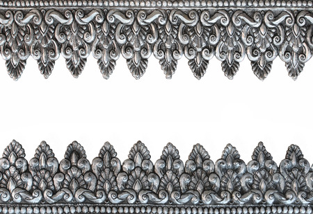 conner: old antique silver frame Thai style pattern isolated on white background Stock Photo