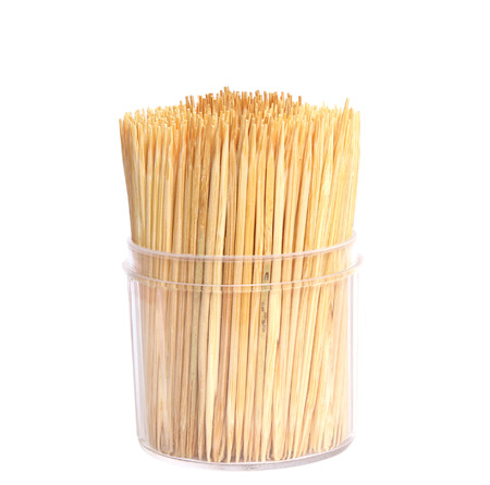 stirrer: Wooden toothpicks isolate on white background Stock Photo