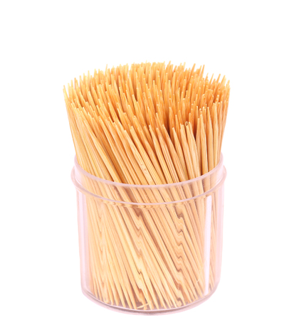 Wooden toothpicks isolate on white background Banque d'images