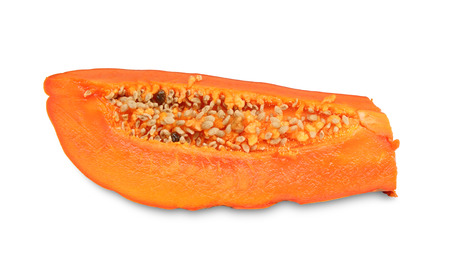 cutaneous: slices of sweet papaya isolated on white background