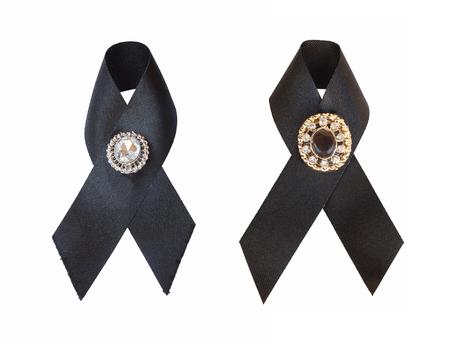 Black Awareness Ribbon Isolated On White Background Mourning