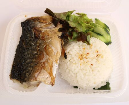 Grill saba with rice in plastic box