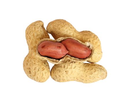 Peanuts isolated on white background. Stock Photo