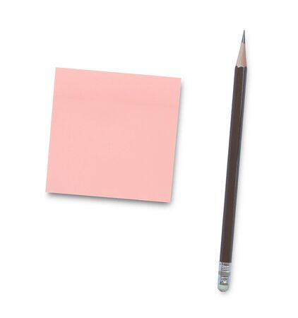 Sticky note with pencil isolated on white background