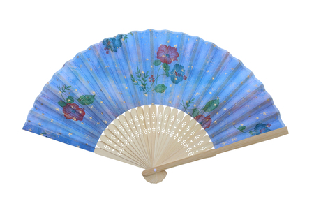 Hand fan isolated on white background. Stock Photo