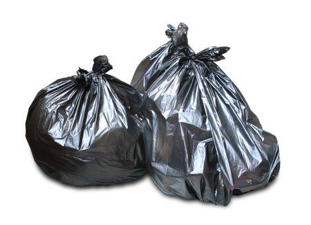 쓰레기 쓰레기 봉투 더미는 흰색 배경에 고립 된
