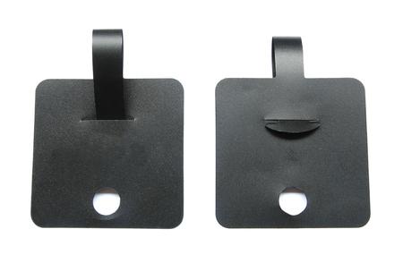 Etiqueta negra Etiqueta de precio, etiqueta de regalo, etiqueta de venta, etiqueta de dirección. aislado en fondo blanco Foto de archivo - 80851861