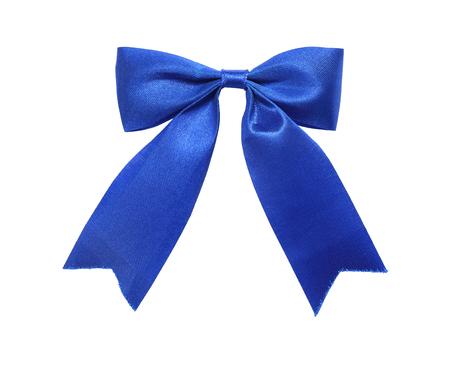 Elegant blue, ultramarine gift ribbon bow, satin, isolated on white background Stock Photo