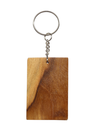 Wooden keychain isolated on white background