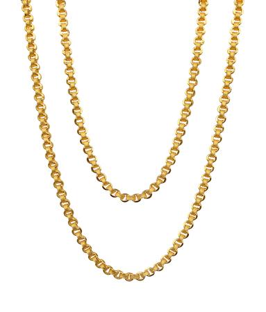 흰 배경에 고립 된 금 목걸이