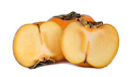 Fresh ripe persimmon isolated on white background. Stock Photo