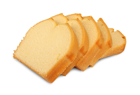 Butter cake slices isolated on white background.