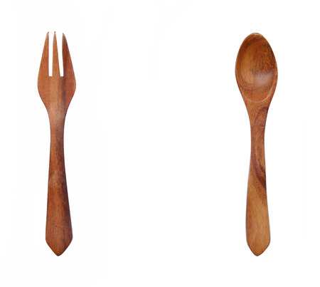 wooden spoon and fork isolated on white background. Stock Photo