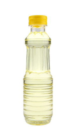 Bottle of vegetable oil isolated on white background.