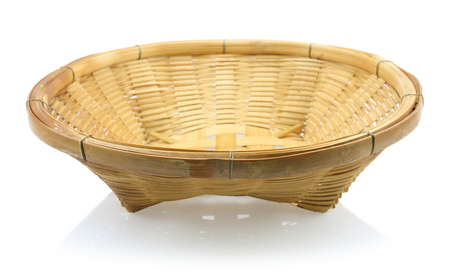 Beautiful bamboo weave basket isolated on white background. Stock Photo