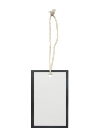 Blank tag tied with string. Price tag, gift tag, sale tag, address label. isolated on white background.