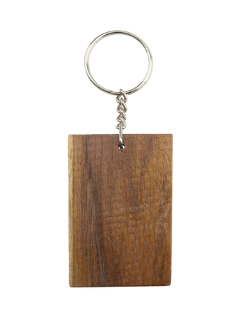 Wooden keychain isolated on white background.