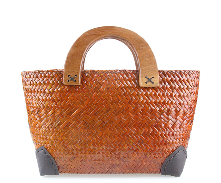 Woven handmade bag for women,Thai handicraft woman basketry isolated on white background. Stock fotó
